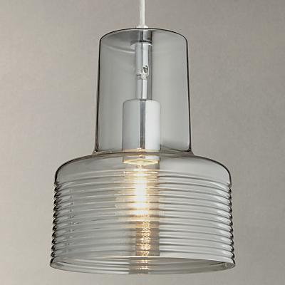 John Lewis Damon Ribbed Glass Pendant Light, Smoke
