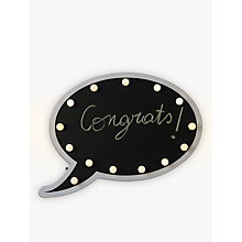 Buy John Lewis Chalkboard Speech Bubble LED Table and Wall Light, Black Online at johnlewis.com