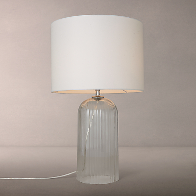 John Lewis Charles Ribbed Glass Table Lamp, Clear/White