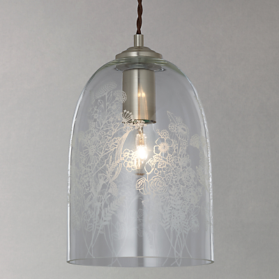 John Lewis Madeline Etched Glass Pendant Ceiling Light, Clear