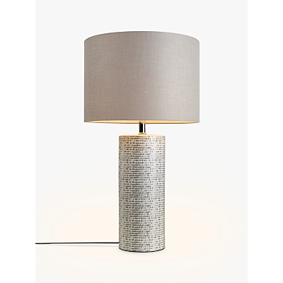 John Lewis Minna Large Ceramic Cylinder Table Lamp, Grey
