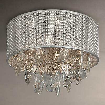 John Lewis Tiffany Semi Flush Ceiling Light, Silver