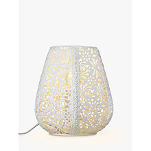 Buy John Lewis Rosanna Metal Fretwork Table Lamp, White Online at johnlewis.com