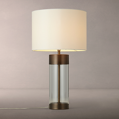 John Lewis Raif Glass Table Lamp, Antique Bronze