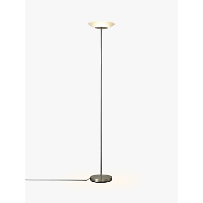 John Lewis Zeta LED Uplighter Glass Top Floor Lamp, Satin Nickel