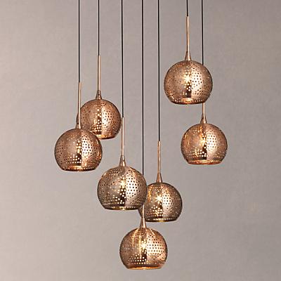 John Lewis Simba Dangles Cluster Ceiling Light, 7 Light, Copper