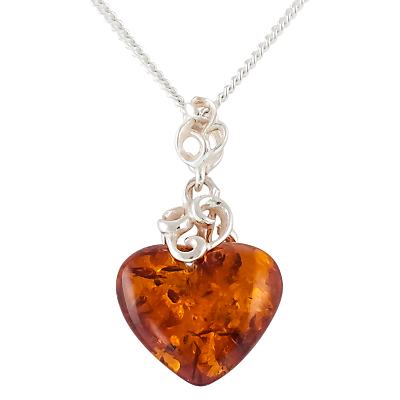 Be-Jewelled Amber Heart Pendant Necklace, Cognac