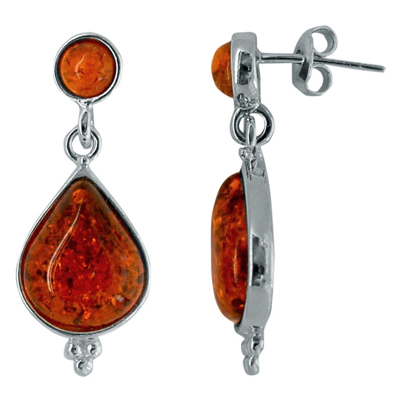Goldmajor Goldmajor Sterling Silver Amber Drop Earrings, Silver/Brown