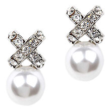 Buy Adele Marie Glass Pave and Faux Pearl Cross Drop Earrings, Silver/White Online at johnlewis.com