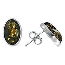 Buy Goldmajor Sterling Silver Amber Oval Stud Earrings, Silver/Green Online at johnlewis.com