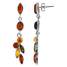 Buy Goldmajor Sterling Silver Amber 5 Drop Earrings, Silver/Multi Online at johnlewis.com