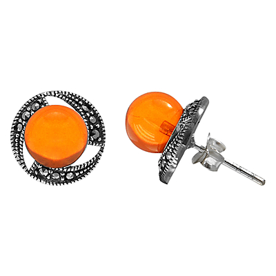Goldmajor Amber and Marcasite Round Stud Earrings, Silver/Orange