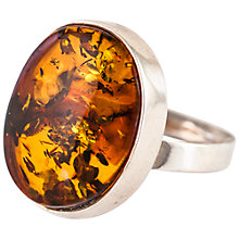 Buy Be-Jewelled Oval Amber Ring, Cognac Online at johnlewis.com