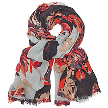 Buy John Lewis Block Floral Scarf, Red Online at johnlewis.com