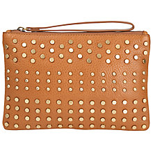 Buy Collection WEEKEND by John Lewis Sadie Leather Stud Clutch Bag, Tan Online at johnlewis.com