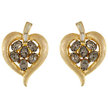 Buy Eclectica Vintage 1950s Trifari Gold Plated Glass Crystals Heart Clip-On Earrings, Grey/Gold Online at johnlewis.com