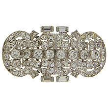 Buy Eclectica Vintage 1930s Trifari Chrome Plated Glass Crystal Double Clip Brooch, Silver Online at johnlewis.com
