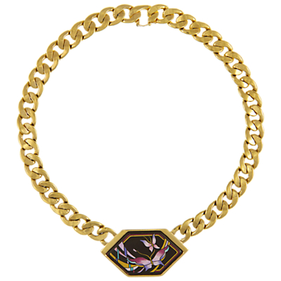 Eclectica Vintage 1980s Michaela Frey Team Gold Plated Painted Enamel Statement Necklace, Black/Pink
