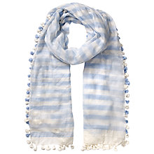 Buy East Silk Blend Pom Pom Scarf, Blue Online at johnlewis.com