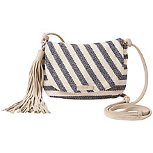 Buy TOMS Riviera Stripe Cotton Across Body Bag, Navy Online at johnlewis.com