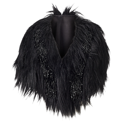 Phase Eight Collection 8 Beaded Faux Fur Cape, Black