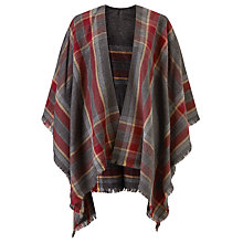 Buy John Lewis Cashmink Check Cape, Burgundy/Grey Online at johnlewis.com