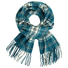Buy John Lewis Classic Check Cashmink Scarf, Blue/Cream Online at johnlewis.com