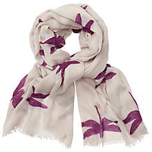 Buy John Lewis Dragonfly Print Scarf, Off White/Plum Online at johnlewis.com