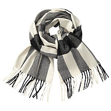 Buy John Lewis Classic Check Cashmink Scarf, Black/Cream Online at johnlewis.com