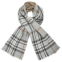 Buy John Lewis Cashmink Double Faced Check Wrap, Grey/Camel Online at johnlewis.com