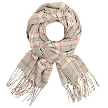 Buy John Lewis Classic Check Cashmink Scarf, Cream/Multi Online at johnlewis.com