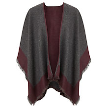 Buy John Lewis Double Faced Check Ruana Cape, Burgundy/Grey Online at johnlewis.com