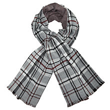 Buy John Lewis Cashmink Double Faced Check Wrap, Claret/Grey Online at johnlewis.com