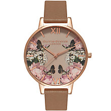 Buy Olivia Burton OB15EG45 Women's Enchanted Garden Leather Strap Watch, Taupe/Multi Online at johnlewis.com