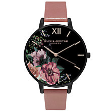 Buy Olivia Burton OB15FS60 Women's After Dark Leather Strap Watch, Dark Rose/Black Floral Online at johnlewis.com