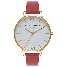 Buy Olivia Burton OB15BDW01 Women's White Dial Leather Strap Watch, Red/White Online at johnlewis.com