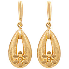 Buy Susan Caplan Vintage 1960s Trifari Gold Plated Floral Drop Clip-On Earrings, Gold Online at johnlewis.com