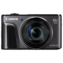 "Buy Canon PowerShot SX720 HS Digital Camera, HD 1080p, 20.3MP, 40x Optical Zoom, Wi-Fi, NFC, 3"" Screen Online at johnlewis.com"