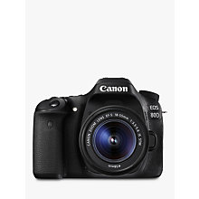 "Buy Canon EOS 80D Digital SLR Camera With 18-55mm Lens, HD 1080p, 24.2MP, Wi-Fi, NFC, 3"" Vari-Angle Touchscreen Online at johnlewis.com"