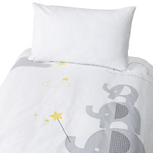 Buy John Lewis Elephant Cotbed Duvet Set, Grey Online at johnlewis.com