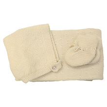 Buy Olivier Baby Cashmere Baby Blanket Gift Set, Cream Online at johnlewis.com