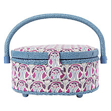 Buy Liberty Mauvarina Tana Lawn Small Oval Sewing Box, Pink Online at johnlewis.com