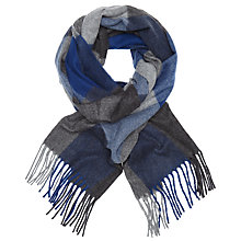 Buy John Lewis Stewkley Cashmink Check Scarf, Blue/Grey Online at johnlewis.com