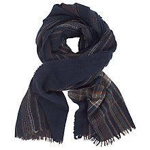Buy JOHN LEWIS & Co. Boiled Wool Check Scarf, Navy Online at johnlewis.com