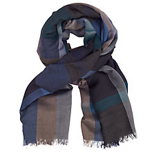 Buy John Lewis Lightweight Wool Blend Check Scarf, Blue Online at johnlewis.com