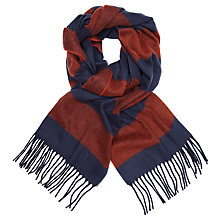 Buy John Lewis Cashmink Rugby Stripe Scarf, Navy/Red Online at johnlewis.com