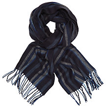 Buy John Lewis Cashmink Herringbone Stripe Scarf, Blue/Grey Online at johnlewis.com