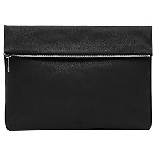 Buy Reiss Piston Leather Foldover Pouch, Black Online at johnlewis.com