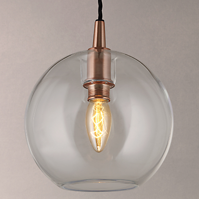John Lewis Gloria Small Glass Pendant Light, Copper/Clear