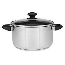 Buy John Lewis Non Stick Stainless Steel Casserole, Dia.24cm Online at johnlewis.com